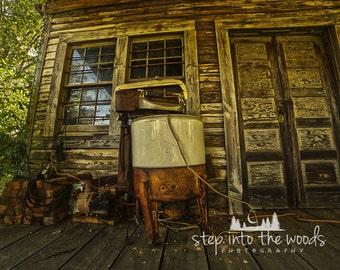 Antique Washing Machine; Laundry Room Decor, Laundry Room Art, Washing Machine, Rural Photography, North Carolina, Rustic Home Decor