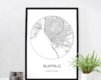 Buffalo Map Print - City Map Art of Buffalo New York Poster - Coordinates Wall Art Gift - Travel Map - Office Home Decor
