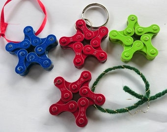 Recycled Bicycle Chain Ornaments Or Key Chain. Star Shaped. Multiple Colors.
