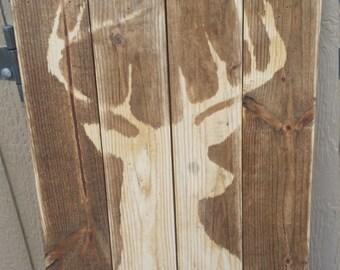 Reclaimed Wood Distressed Deer Sign
