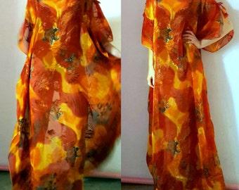 Bright Color Floral Print Long Tunic Dress
