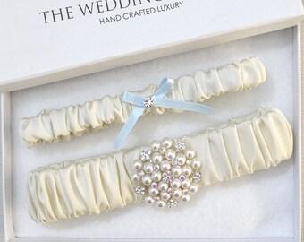 Wedding Garter Set, Bridal Garter, Ivory Garter, Blue Wedding Garter, Ivory Wedding Garter, Satin Garter, Garter