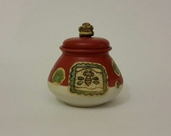 ceramic honey pot, red, handmade, stoneware, lid with a bee, pottery, hand painted, thrown on the wheel, universal gift,