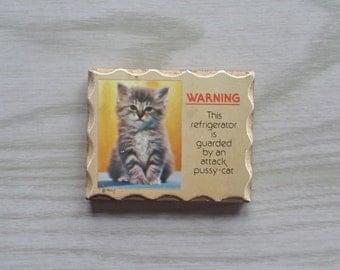 Vintage Cat Kitten Magnet Wooden