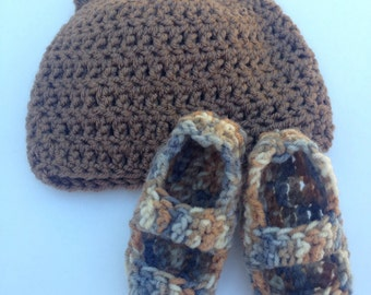 Baby Bear Crochet Hat Cap Booties Set