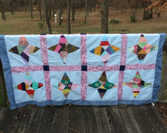 Arkansas Snowflake Quilt Top! Great shape , made in the 1970's