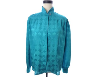 Womens Vintage Laura and Jayne Turquoise Blue Blouse Size 12 XL