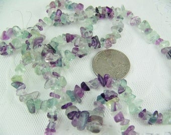 "DESTASH, Rainbow Fluorite, Natural Fluorite Beads, Medium Chip Stones, 33"" strand, Rainbow Beads, Ocean Shades"