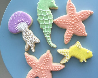 Ocean Cookies, Fish Cookies, Under the Sea, Mermaid Cookies, Sparkly Cookies, Treat Bags, Party Bags, Dessert Table