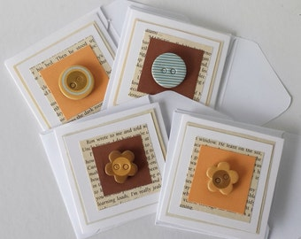 Buttons Brown Minicard Set, Gift Tags, Blank Cards, Mini cards with envelopes, Birthday, Thank you, Sympathy, set of 4, ready to ship