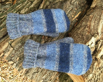 Felted Wool Mittens made from Repurposed Sweaters Gray Blue Striped Heather