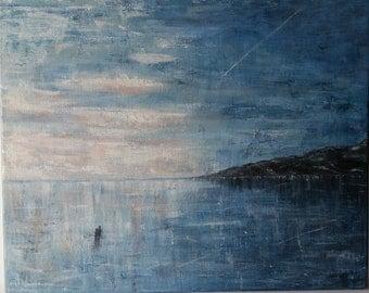 Painting: Ice scaters on lake / Tavla; Långfärd