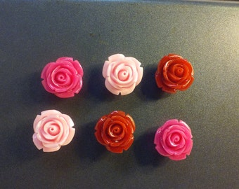 6 Cartoon Like Rose Flowers Magnets