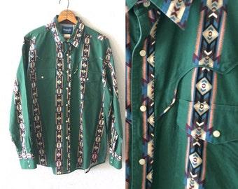 1990's Wrangler Snap Button Down Vintage Southwestern Print Ranch Wear Shirt