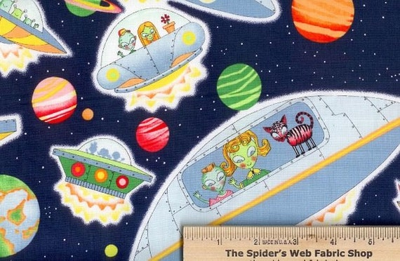 Alexander henry fabric alien arrival oh so by spiderswebfabric for Alien print fabric