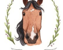 Original Watercolor Horse Illustration Painting Custom Equine Portrait Illustrated Horse Painting Portrait Pony Horse Lover Gift OOAK