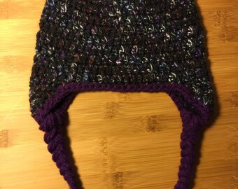 Baby beanie, crocheted hat, black and purple twilight coloring with earflaps and braids. baby, infant, toddler. Fits 12 mo, ready to ship