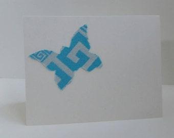 Handmade Greeting Card - Tekhni Meandros Tidepool - Tekhni Wrap Scrap - Butterfly - Blue and White