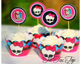 12pcs Monster High Cupcake Toppers + Wrappers. Party Supplies Decorations