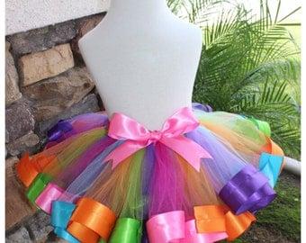 Rainbow Ribbon Tutu, Ribbon Trimmed Tutu, Rainbow Tutu, Candyland Ribbon Tutu, Colorful Tutu, Candyland Tutu