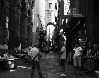Street in Naples 4: Black and White Photographic Print