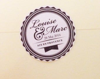 Wedding stickers, custom envelopes, announcement or pocketfold (marriage, wedding, invitation, customizable) stickers