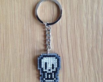 Papyrus Keychain, Undertale, Cross Stitched Keychain, Undertale Gift, Keyring, Skull Keychain