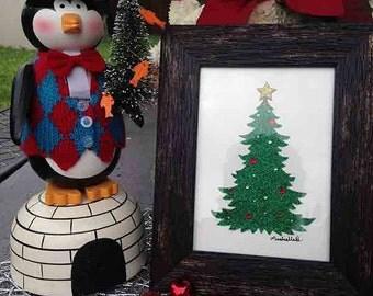 Christmas Tree _ Green_ BrownRustic Frame