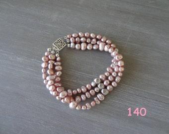 Pink Keishi freshwater pearl & sterling silver bracelet
