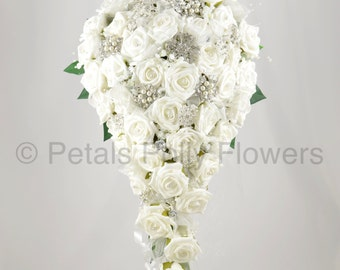 Artificial Wedding Flowers White Rose Brides Teardrop Bouquet With Diamante Brooches
