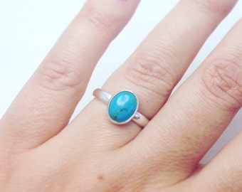 Turquoise Silver Ring, Turquoise Ring, Handmade Silver Turquoise Ring, Boho Style Ring, Blue Stone Ring, Green Stone Ring, Turquiose