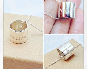 Mum Necklace, Sterling Silver Barrel Necklace, Silver Mum Barrel Pendant, Silver Mum Necklace,