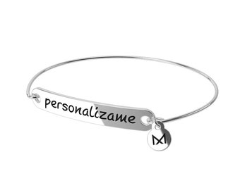 Bracelet with message personalized in silver of law with thread of silver