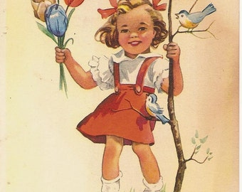 Red ribbons & red dressed little girl with flowers
