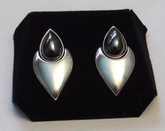 Vintage Sterling Silver Hematite Earrings