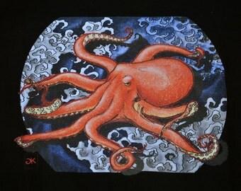 Men's T-Shirt Orange Octopus