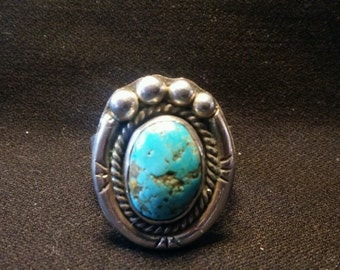 Mens Turquoise Large Oval Ring