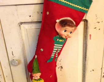 Vintage Elf Stocking