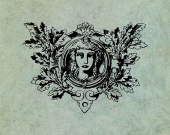 Luna Moon Goddess with Oak Branches - Antique Style Clear Stamp