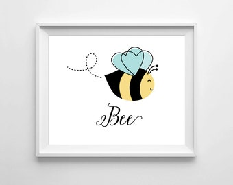 Bee Print Art Room Playroom Decor Nursery