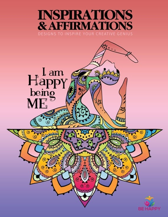 Adult Coloring Book, Printable Coloring Pages, Inspirational Quote, Coloring Book for Adults, Instant Download INSPIRATIONS & AFFRIMATIONS