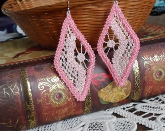Romanian Point Lace, Pink Earrings - 204CP