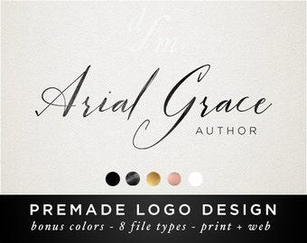 Premade Logo Design - Watercolor Logo - Signature Logo Branding Kit - Photography Logo - Business Branding Package - Delicate Feminine 60