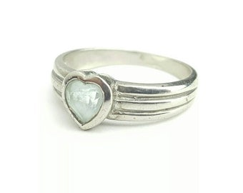Vintage Sterling Silver Ring with Pale Blue Heart Gem- Size 5.25