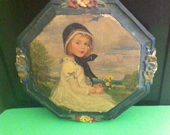 Lovely Vintage Wood Little Girl Plaque C. Max