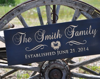 Wooden Family Name Sign, Wedding Gift, Anniversary, Home decor