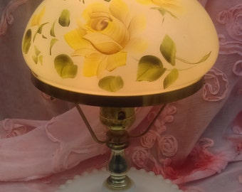 Antique Lamp/Gone with the wind lamp/ Hurricane electric lamp/ Glass with yellow roses/