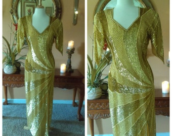 Gold Sequined Beaded Dress, Mother of the Bride Silk Dress Art deco, Hand Made, Evening Dress, By Annabelle, Size Medium