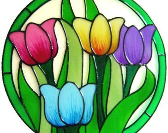 Colourful Tulips Frame Handpainted Window Cling - get the look of stained glass  (Ref 926)