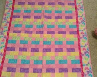 Pink Quilt in brick block design